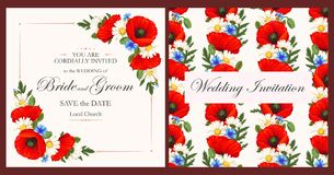 Vintage card with meadow flowers Royalty Free Stock Photography