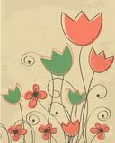 Vintage card with multicolored heraldic  flowe Royalty Free Stock Image