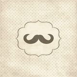 Vintage card with mustache. On polka dot background Stock Image