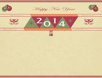 Vintage Card for New Year 2014 Stock Image