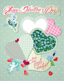 Vintage Card, Old Paper Peaces In Hearts Shapes Stock Images