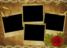 Vintage card from old paper and rose. On the abstract background Stock Photography