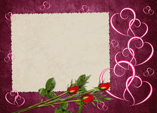 Vintage card from old paper and rose. On the abstract background Royalty Free Stock Photos
