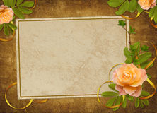 Vintage card from old paper and rose. On the abstract background Stock Photos