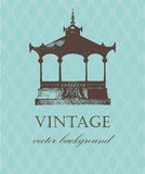 Vintage card with old pavilion. Royalty Free Stock Images