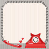 Vintage card and old telephone Royalty Free Stock Images