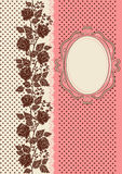Vintage card ornamented with silhouettes of roses stock illustration