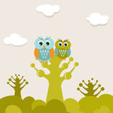 Vintage card with owls couple on the tree Royalty Free Stock Photography