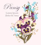 Vintage card with pansies Royalty Free Stock Photos