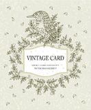 Vintage card in pastel colors with a stylized bird Stock Photo