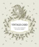 Vintage card in pastel colors with a stylized bird. Vector illustration. Stylish floral card in . Vintage card in pastel colors with a stylized bird. Ideal for royalty free illustration