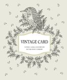 Vintage card in pastel colors with a stylized Royalty Free Stock Photo