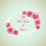 Vintage card with phrase all we need is love. Stock Photo