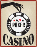 Vintage card with a poker chip Stock Photo