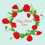 Vintage Card with Poppy Flowers Frame Stock Photo