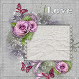 Vintage card with purple  roses, lace Royalty Free Stock Photos