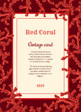 Vintage card with red corals Stock Images