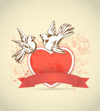 Vintage card with red heart and dove Stock Photo