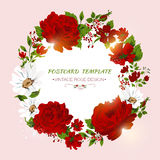 Vintage card with red roses, peony, camomile. Royalty Free Stock Photos