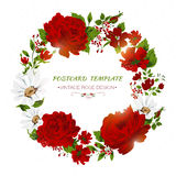 Vintage card with red roses, peony, camomile. Royalty Free Stock Images