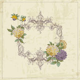Vintage Card with Retro Frame and Flowers Stock Photography