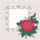 Vintage card with rose flower and frame Stock Images