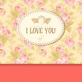 Vintage card with roses Stock Photography