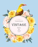 Vintage card with roses and bird Stock Photography