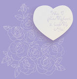 Vintage card roses bouquet romantic quotes Royalty Free Stock Photo