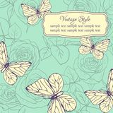 Vintage card with roses and butterflies Stock Image