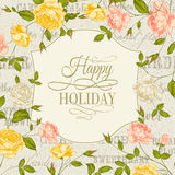 Vintage card with roses on holiday Royalty Free Stock Images