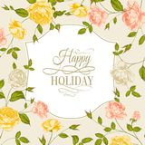 Vintage card with roses on holiday Royalty Free Stock Photos