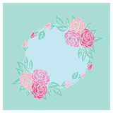 Vintage card with roses. Pastel colors royalty free illustration