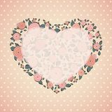 Vintage card. Roses in shape of a heart Royalty Free Stock Photos