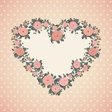 Vintage card. Roses in shape of a heart Stock Images