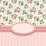Vintage card with roses and stripes. Royalty Free Stock Photography