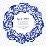 Vintage card with a round frame of blue roses. Royalty Free Stock Photo