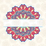Vintage Card with Round Mandala Lab Royalty Free Stock Photography