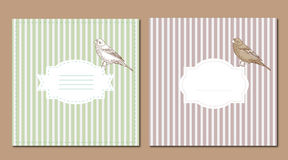 Vintage card set with bird Royalty Free Stock Image