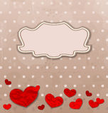 Vintage card with set crumpled paper hearts Stock Photo