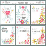 Vintage card set with floral decor.Cute Holiday Royalty Free Stock Images