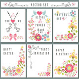 Vintage card set with floral decor.Holiday Royalty Free Stock Photography