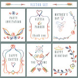 Vintage card set with hand drawing decor Royalty Free Stock Photos