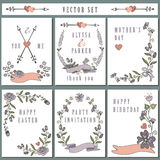 Vintage card set with hand drawing floral decor Stock Photo