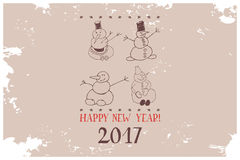 Vintage Card Snowman illustration. Winter character on holiday background with snowflakes and text Happy New Year 2017 vector illustration