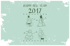Vintage Card Snowman illustration. Winter character on holiday background with snowflakes and text Happy New Year 2017 royalty free illustration