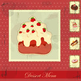 Vintage card with a strawberry and chocolate cake Royalty Free Stock Photography