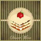 Vintage card with a strawberry dessert Royalty Free Stock Images
