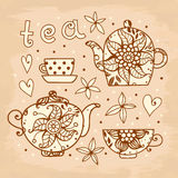 Vintage card. Tea set of elements for design. Royalty Free Stock Photo