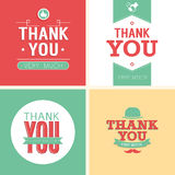 Vintage card - Thank You set. Vector illustration Royalty Free Stock Photo